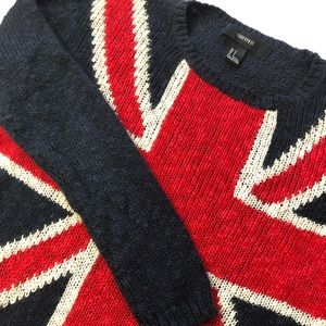 Forever 21 British Flag knitted sweater Sz S